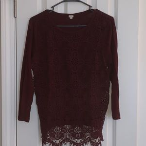 maroon lace overlay j crew t-shirt
